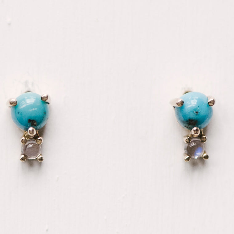 Turquoise And Moonstone 14 Kt Gold Earrings