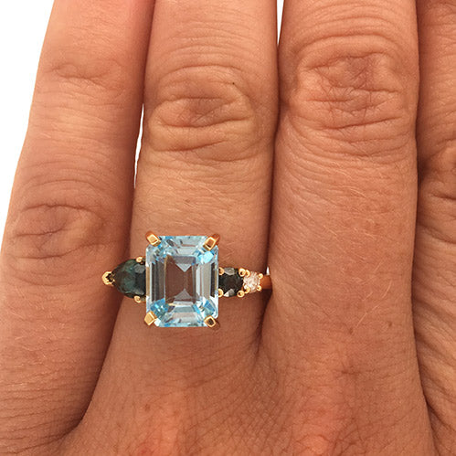 Asymmetrical Topaz, Tourmaline And Diamond Ring - The Curated Gift Shop