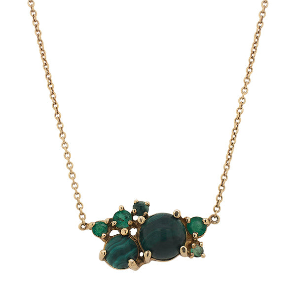 Front view of malachite and emerald cluster necklace set in a 14 kt yellow gold setting.