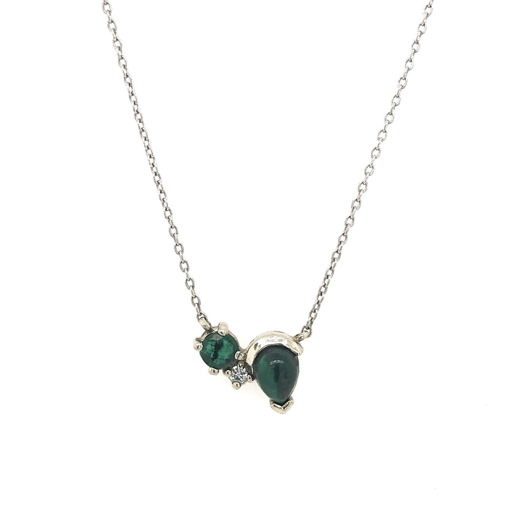 Malachite, Emerald, and Diamond Necklace - King + Curated