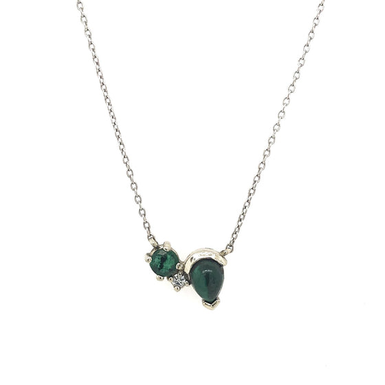 Malachite, Emerald, and Diamond Necklace - The Curated Gift Shop