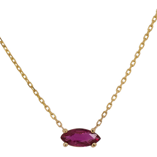 Front view of marquise cut, ruby necklace set in a 14 kt yellow gold, 4 prong setting.