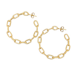Modern, Chain Link Hoop Earrings