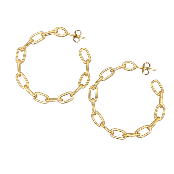 Modern, Chain Link Hoop Earrings - The Curated Gift Shop