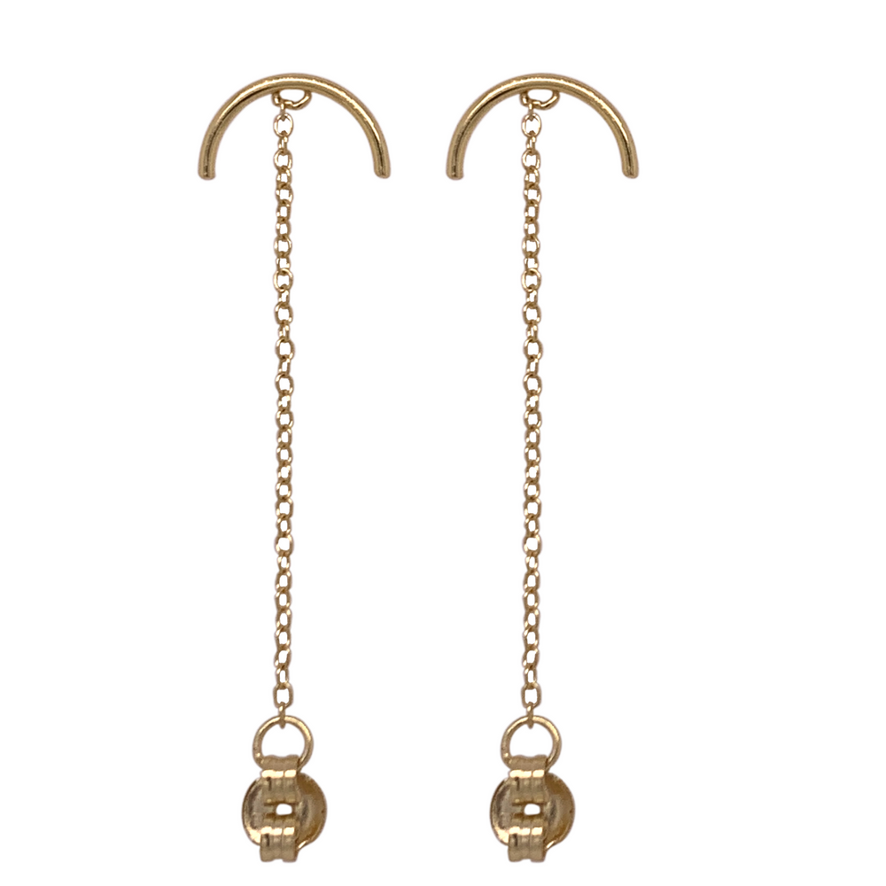 Modern, Half Circle Studs With Chain - The Curated Gift Shop