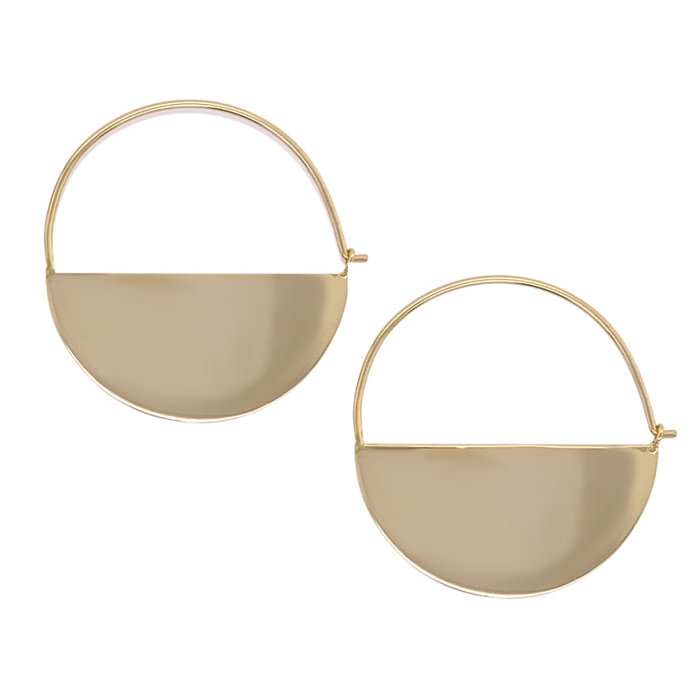 Modern, Half Moon Hoop Earrings