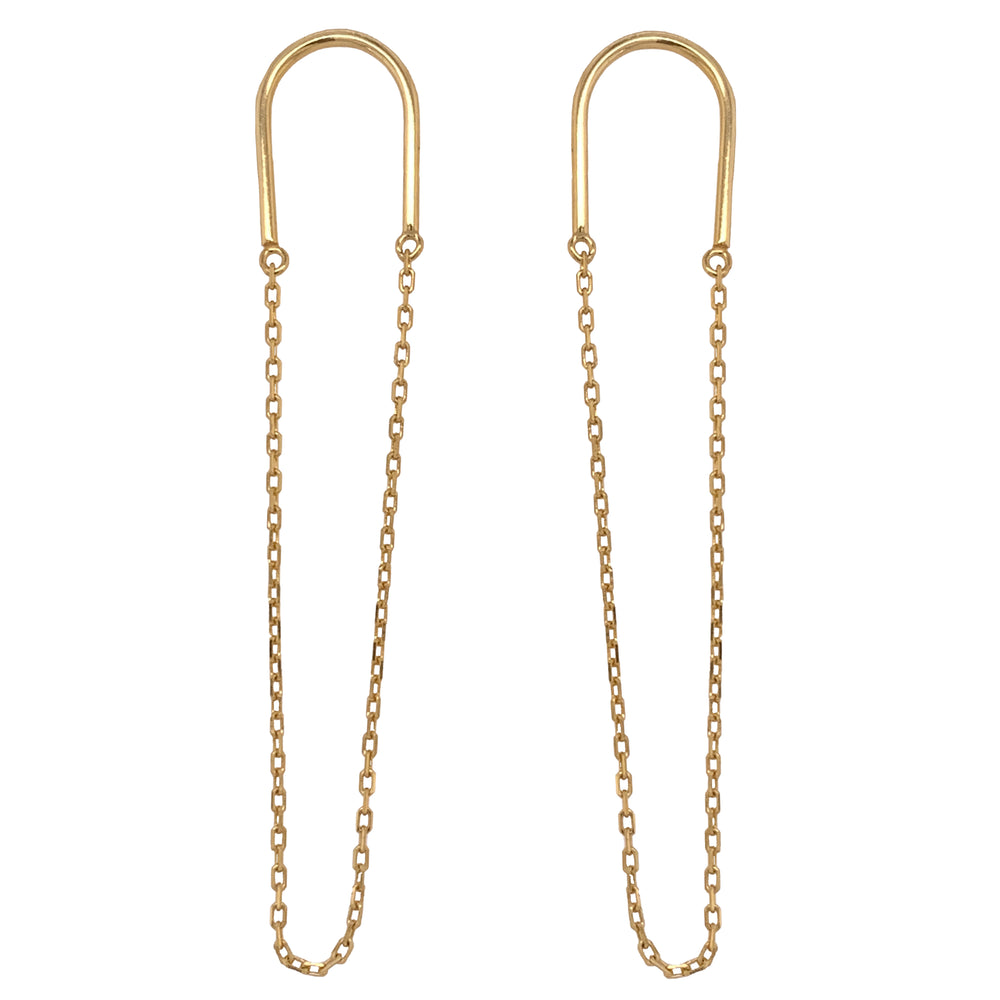Modern, Half Oval Studs With Chain - The Curated Gift Shop