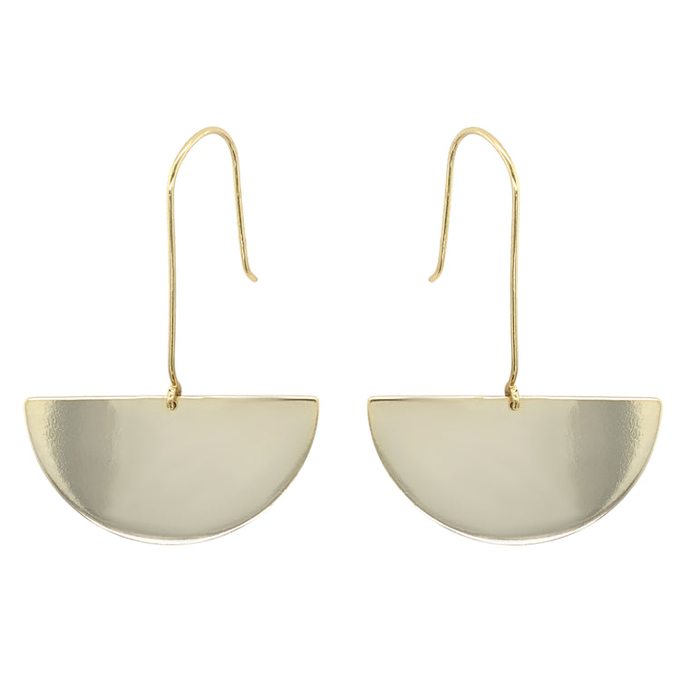 Modern, Hanging Half Moon Earrings