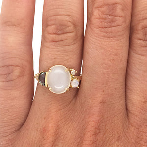 Load image into Gallery viewer, Moonstone, Blue Topaz And Diamond Ring - The Curated Gift Shop