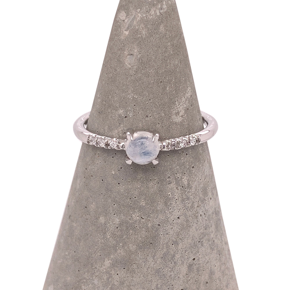 Cabochon Moonstone and Diamond Ring - The Curated Gift Shop