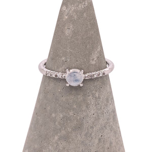 Load image into Gallery viewer, Cabochon Moonstone and Diamond Ring - The Curated Gift Shop