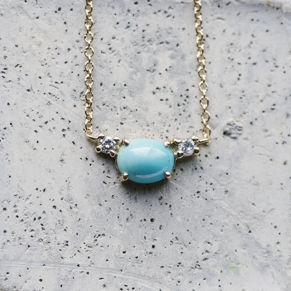 Petite Turquoise And Double Diamond Necklace - The Curated Gift Shop