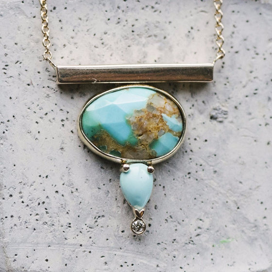 Genuine Turquoise And Dainty Diamond Bar Necklace - The Curated Gift Shop