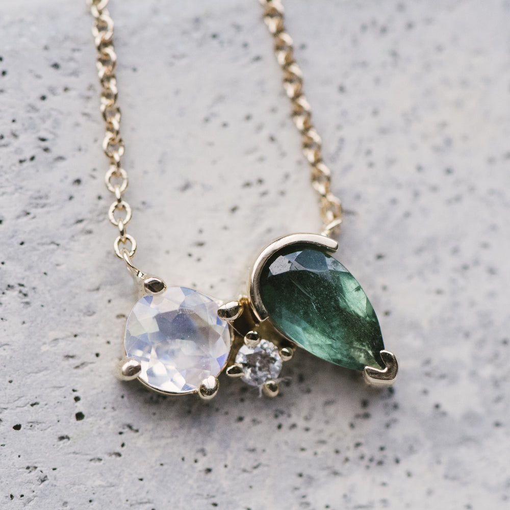 Asymmetrical Moonstone, Tourmaline And Diamond Necklace - King + Curated