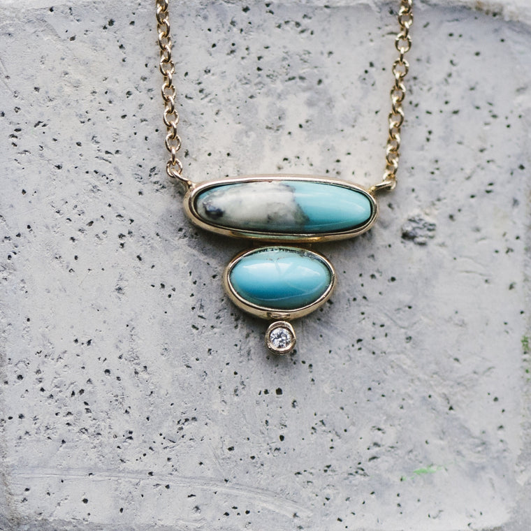 Double Layer Turquoise And Petite Diamond Necklace