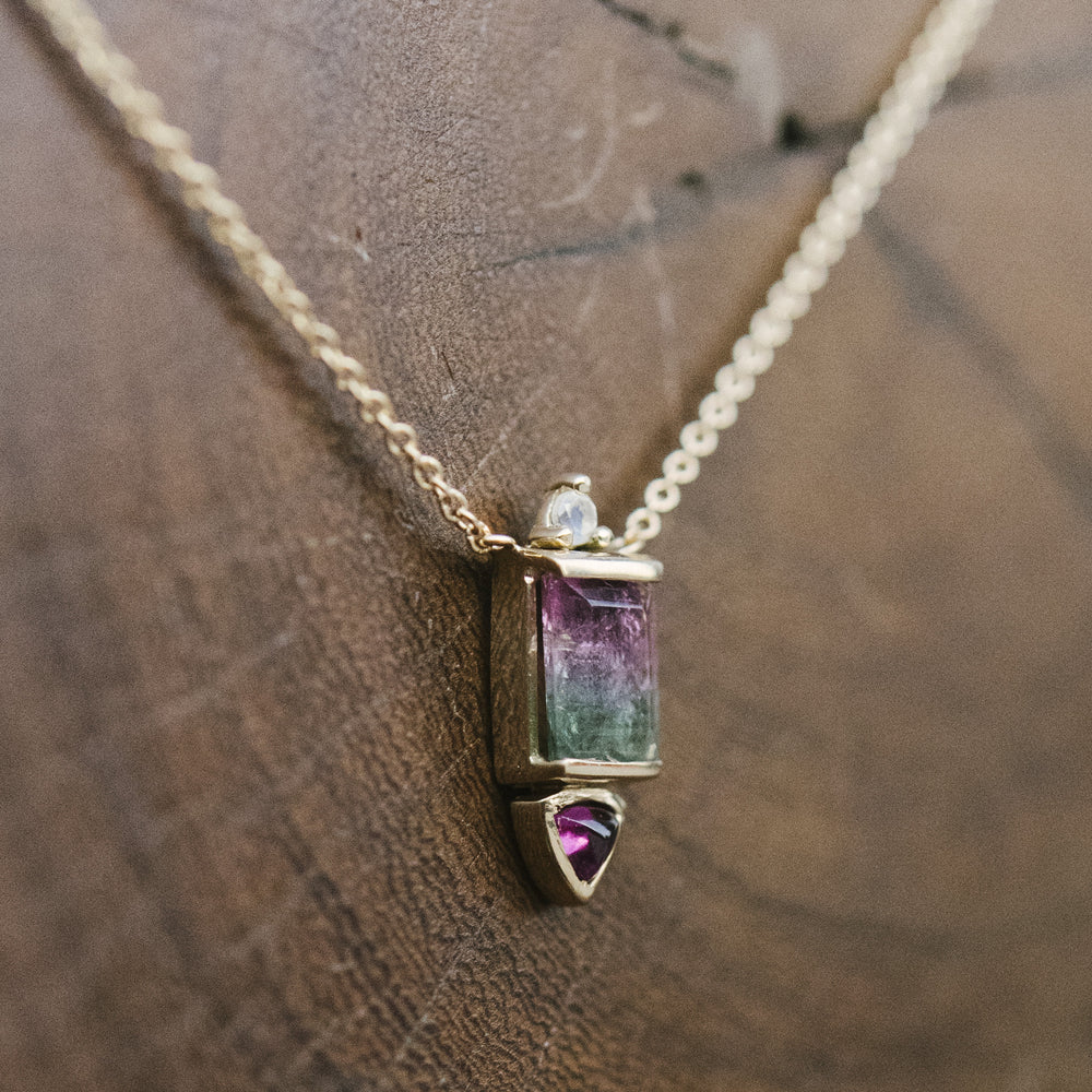 Load image into Gallery viewer, Watermelon Tourmaline, Rhodolite Garnet and Moonstone Necklace - The Curated Gift Shop