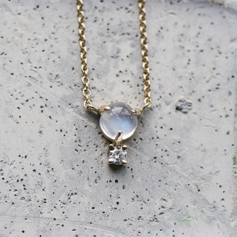 Custom Stone And Diamond Necklace