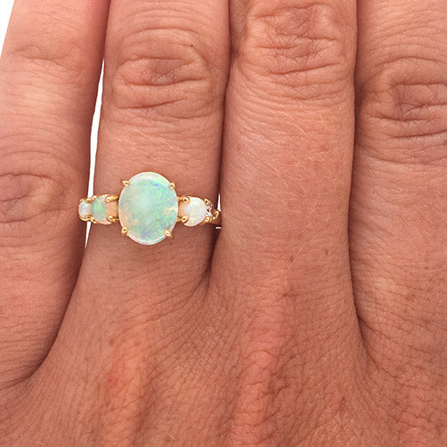 Load image into Gallery viewer, Opal And Diamond Ring - The Curated Gift Shop