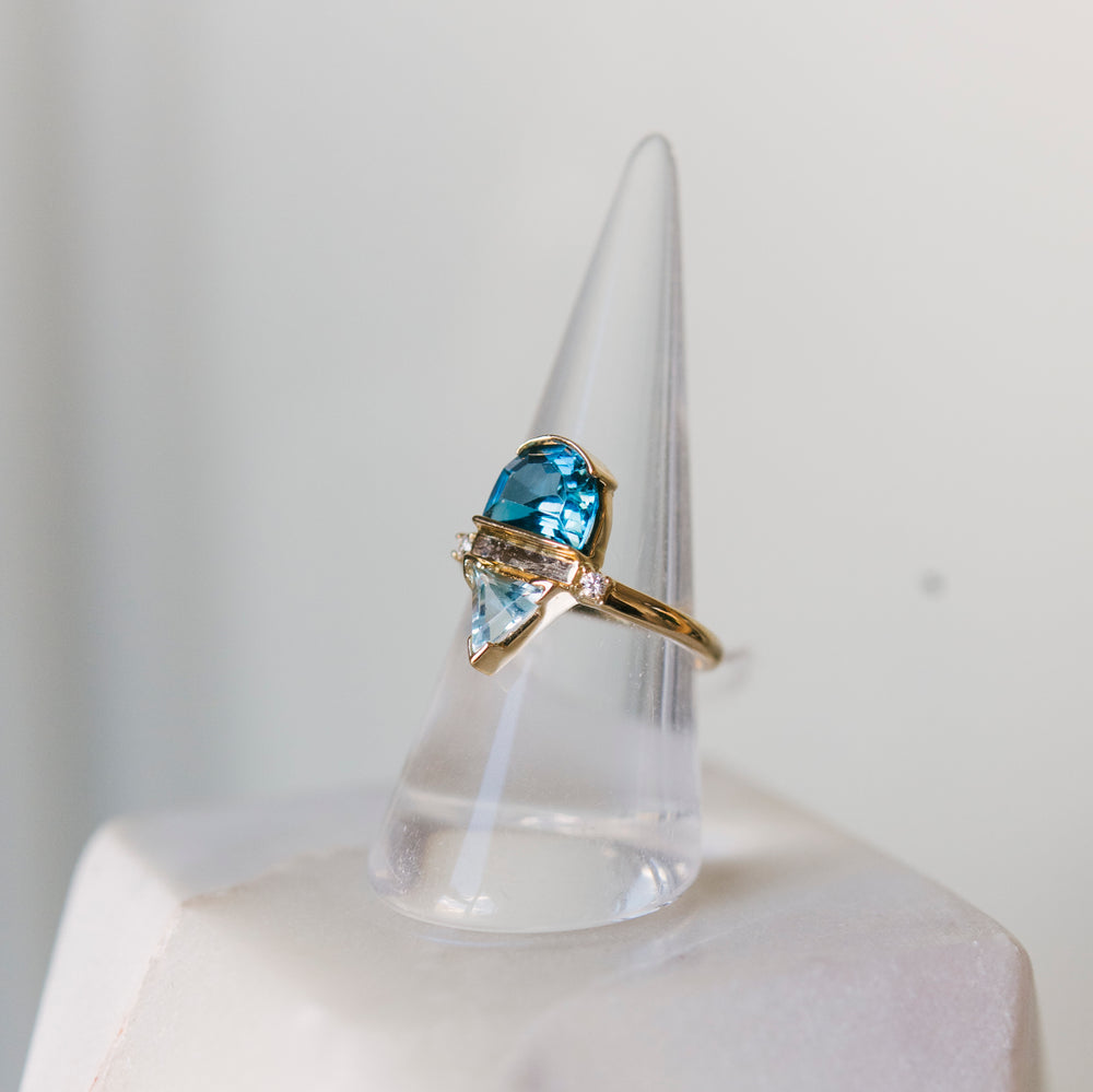 Blue Topaz, Aquamarine And Diamond Ring - The Curated Gift Shop