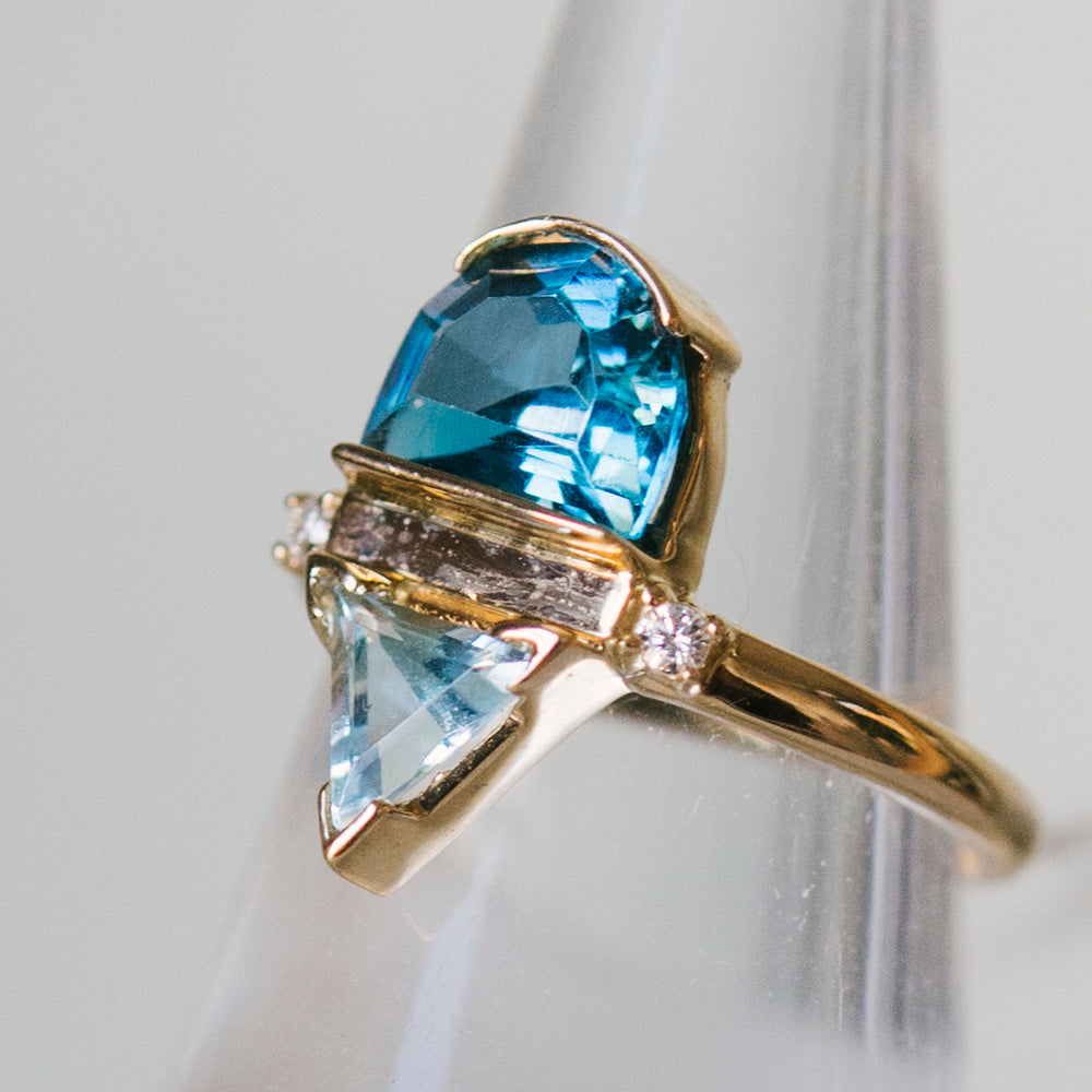 Blue Topaz, Aquamarine And Diamond Ring - King + Curated