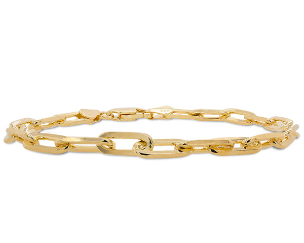 Front view of large size, paper clip style bracelet made of solid sterling silver and plated in 14 kt yellow gold.