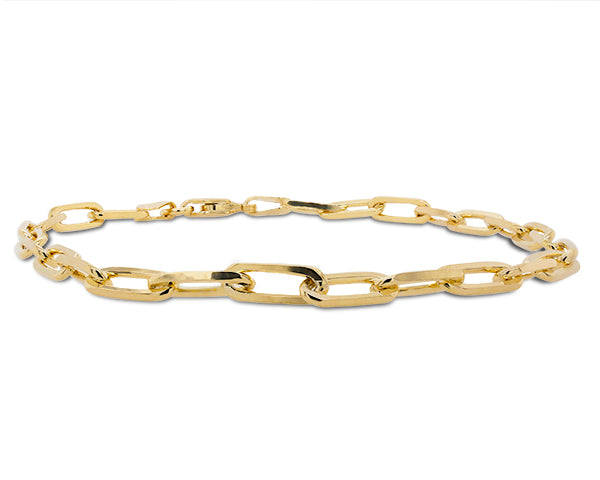 Front view of medium size, paper clip style bracelet made of solid sterling silver and plated in 14 kt yellow gold.