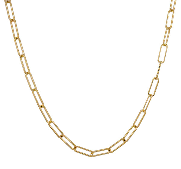 Front view of paperclip style necklace made of solid 14 kt yellow gold.