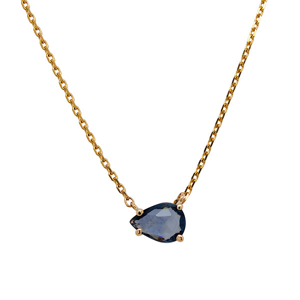Front view of a rose and pear cut blue sapphire necklace cast in a 14 kt yellow gold setting.