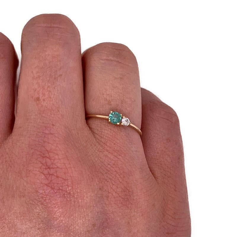 Petite Green Tourmaline & Diamond Ring - The Curated Gift Shop
