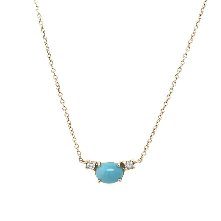 Petite Turquoise And Double Diamond Necklace