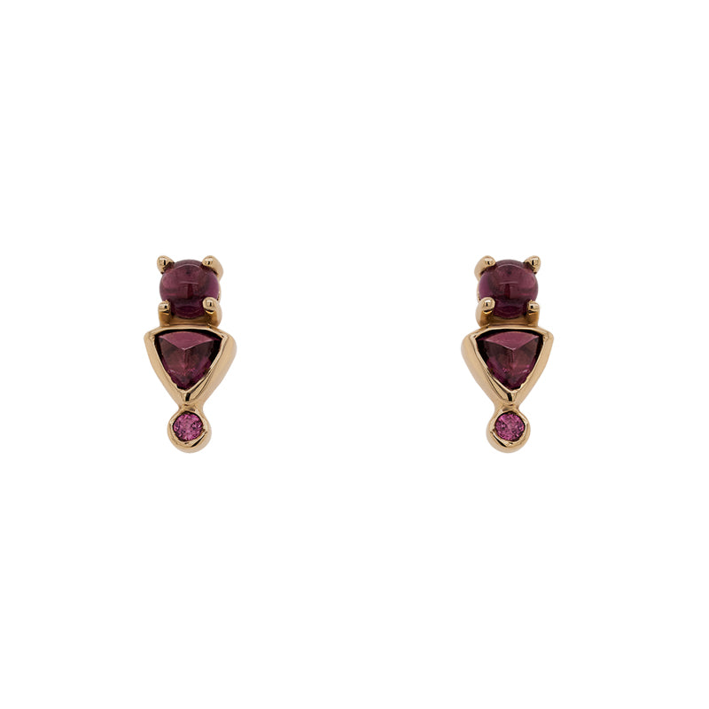 Front view of rhodolite garnet stud earrings with round, cabochon, and trillion cut stones set in 14 kt yellow gold settings.