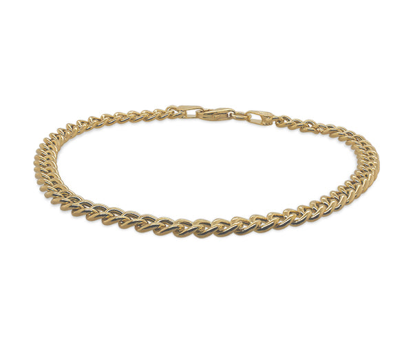 Front view of a rope style bracelet made of solid 14 kt yellow gold.