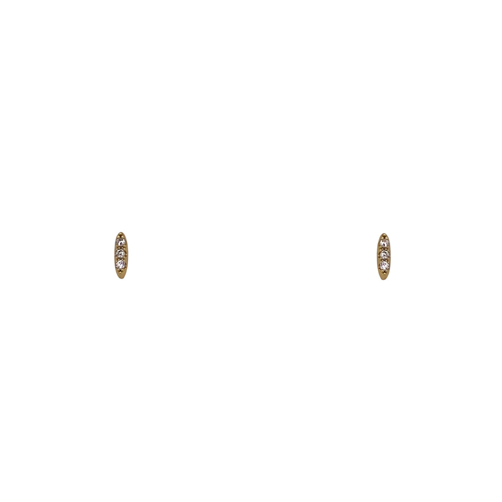 Rounded Bar Shaped Studs With Crystals - The Curated Gift Shop