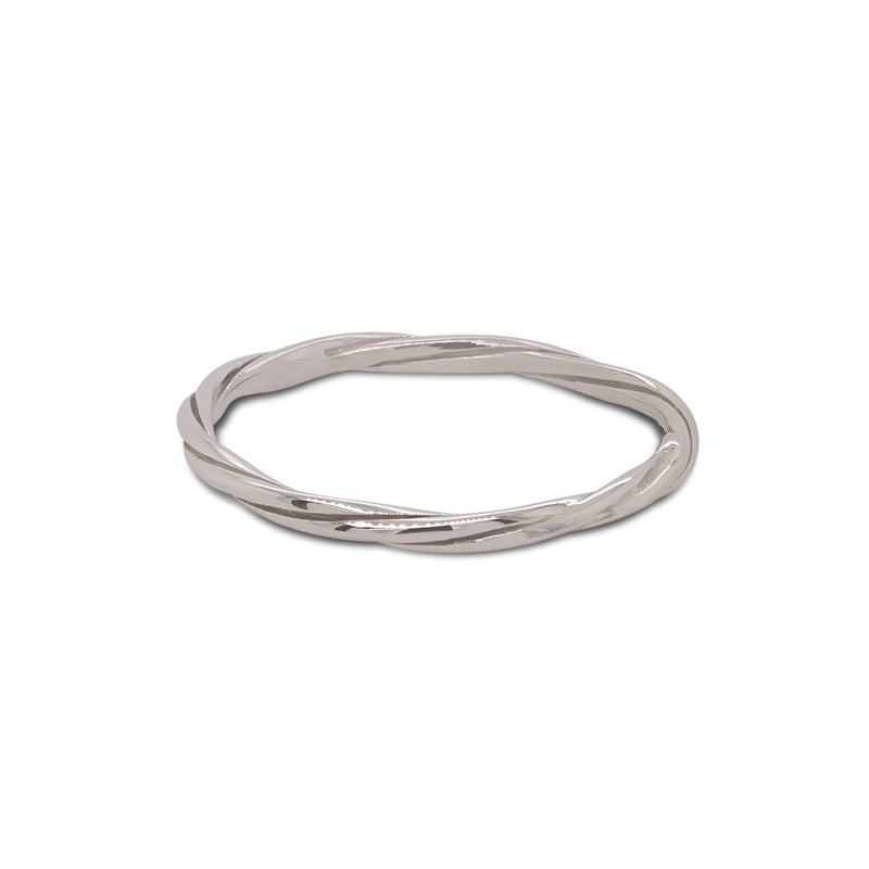 Front view of double twisted ring cast in 14 kt white gold.
