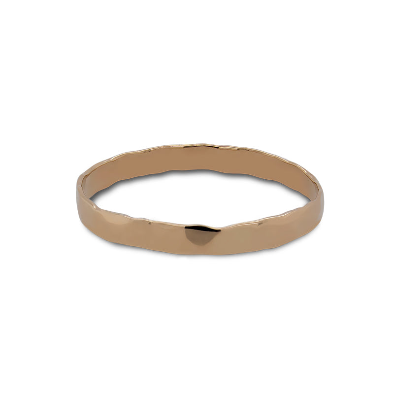 Front view of hammered stacking band cast in 14 kt yellow gold. - King + Curated