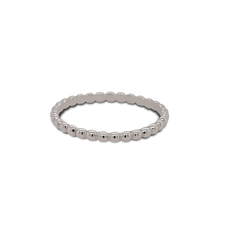 Load image into Gallery viewer, Front view of 14 kt white gold ring with repeat bead pattern.