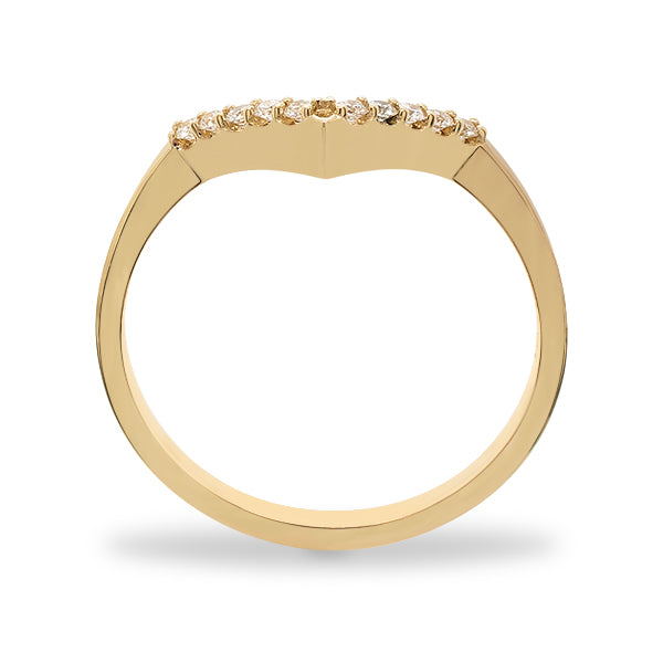 SIde view of a V shaped ring with 10 round cut diamonds cast in 14 kt yellow gold by King + Curated.