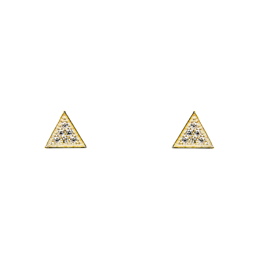 Triangle Stud Earrings With Tiny Crystals | Large - King + Curated