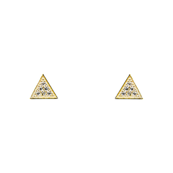 Triangle Stud Earrings With Tiny Crystals | Large