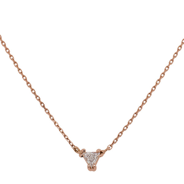 Front view of a trillion cut diamond necklace cast in 14 kt rose gold.