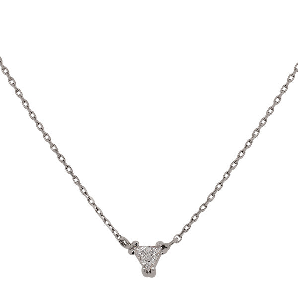 Load image into Gallery viewer, Front view of a trillion cut diamond necklace cast in 14 kt white gold.