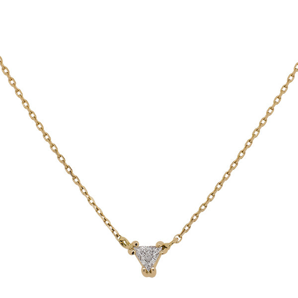 Load image into Gallery viewer, Front view of a trillion cut diamond necklace cast in 14 kt yellow gold.