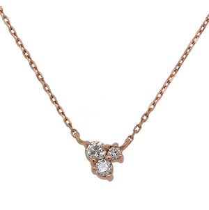 Load image into Gallery viewer, Front view of triple cluster diamond necklace cast in 14 kt rose gold.