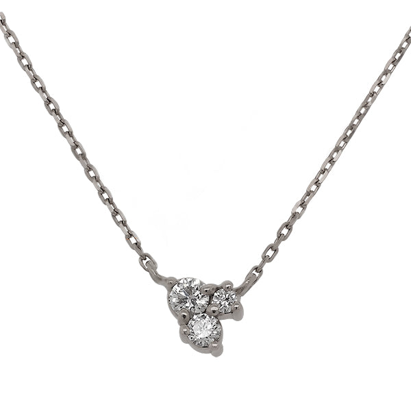Front view of triple cluster diamond necklace set in 14 kt white gold.