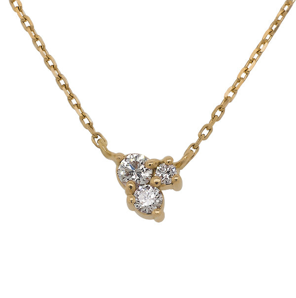 Front view of triple cluster diamond necklace set in 14 kt yellow gold.  - King + Curated