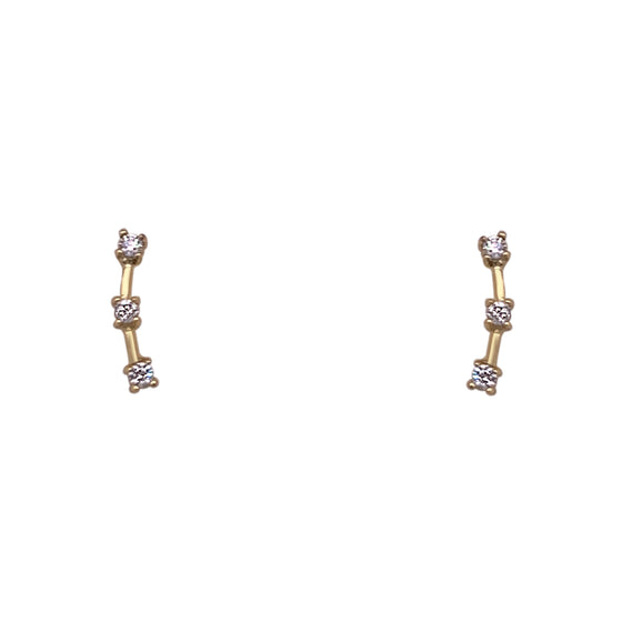 Triple Crystal Climber Earrings | Small
