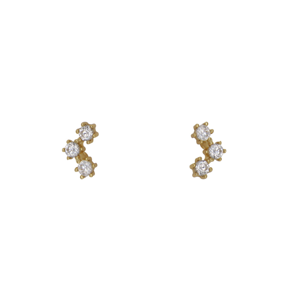 14 kt yellow gold plated, sterling silver, triple crystal stud earrings. Each crystal is set in place by 6 prongs.