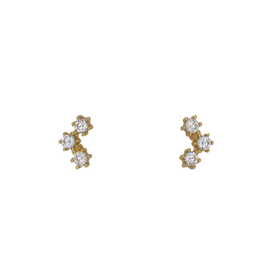 Triple Crystal Studs | 6 Prong