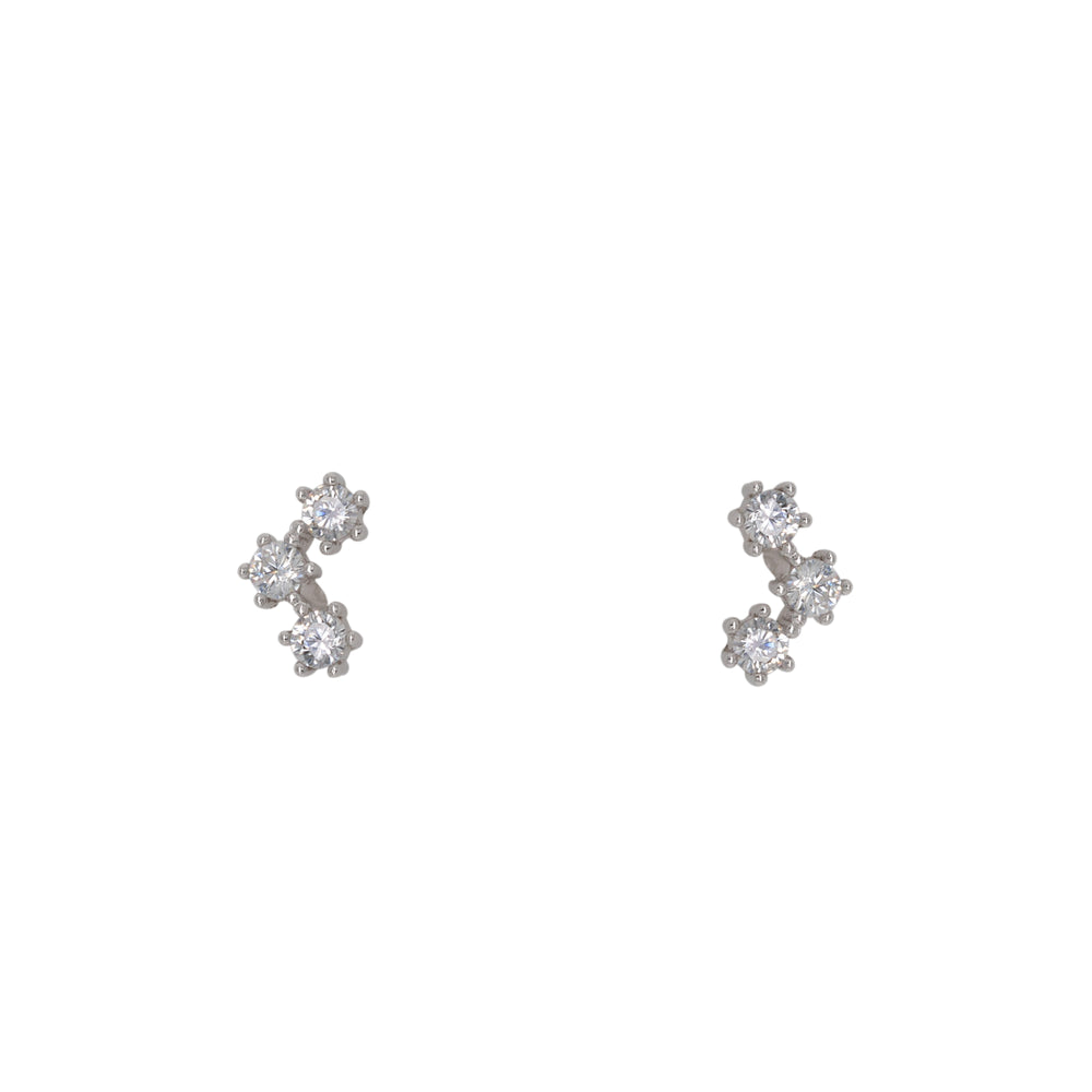 Triple Crystal Studs | 6 Prong - King + Curated