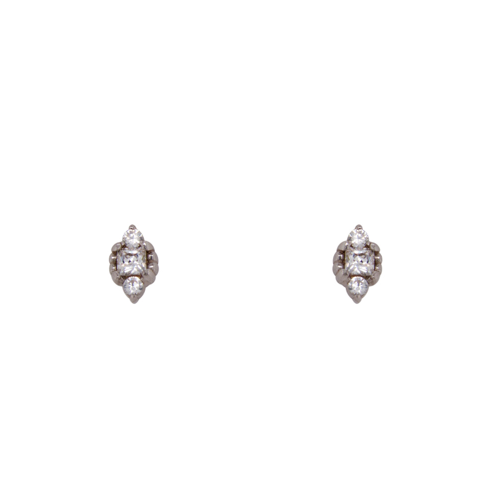 Triple Crystal Studs | Bezel - The Curated Gift Shop